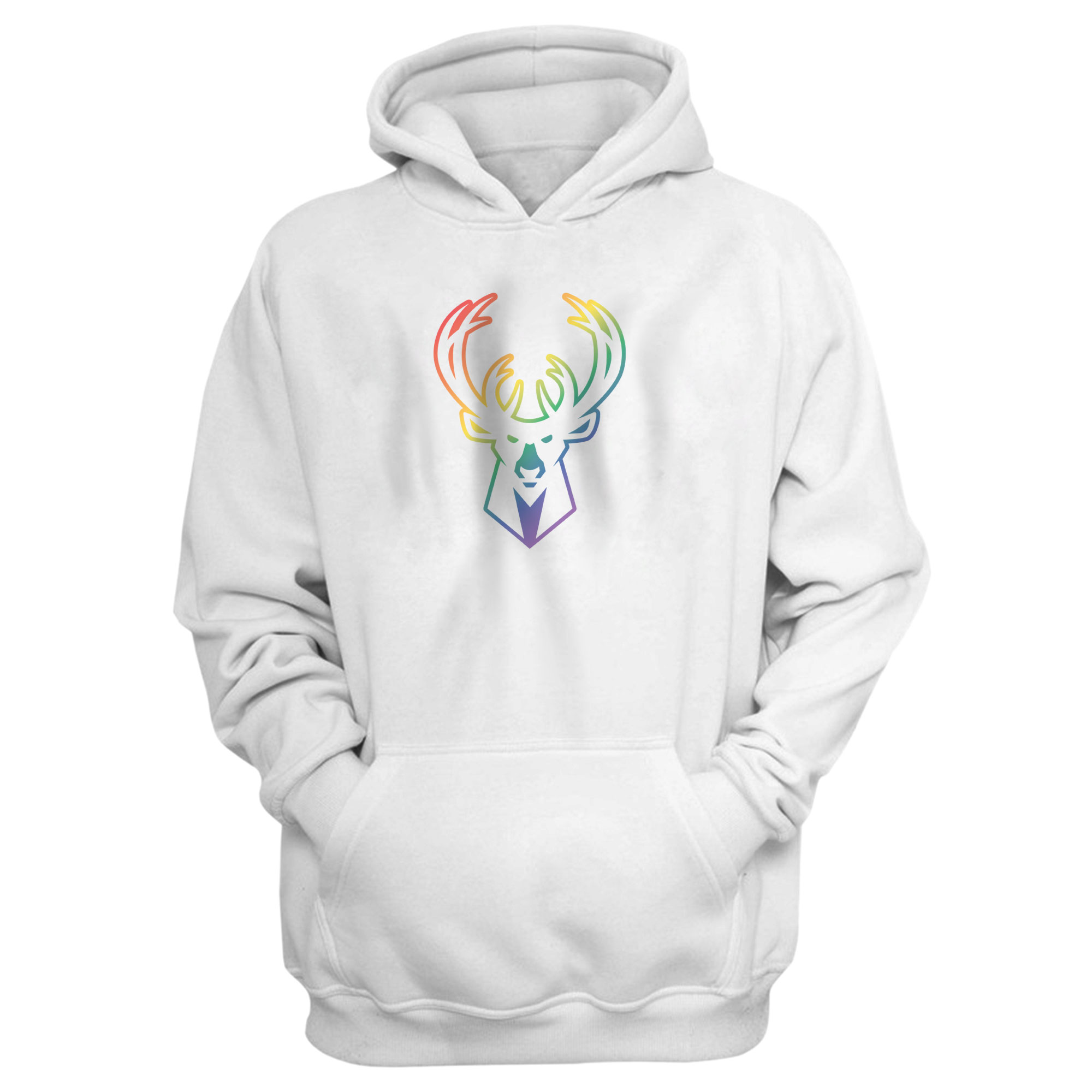 Milwaukee  Rainbow Hoodie (HD-WHT-NP-427-NBA-MIL-RAİNBOW)