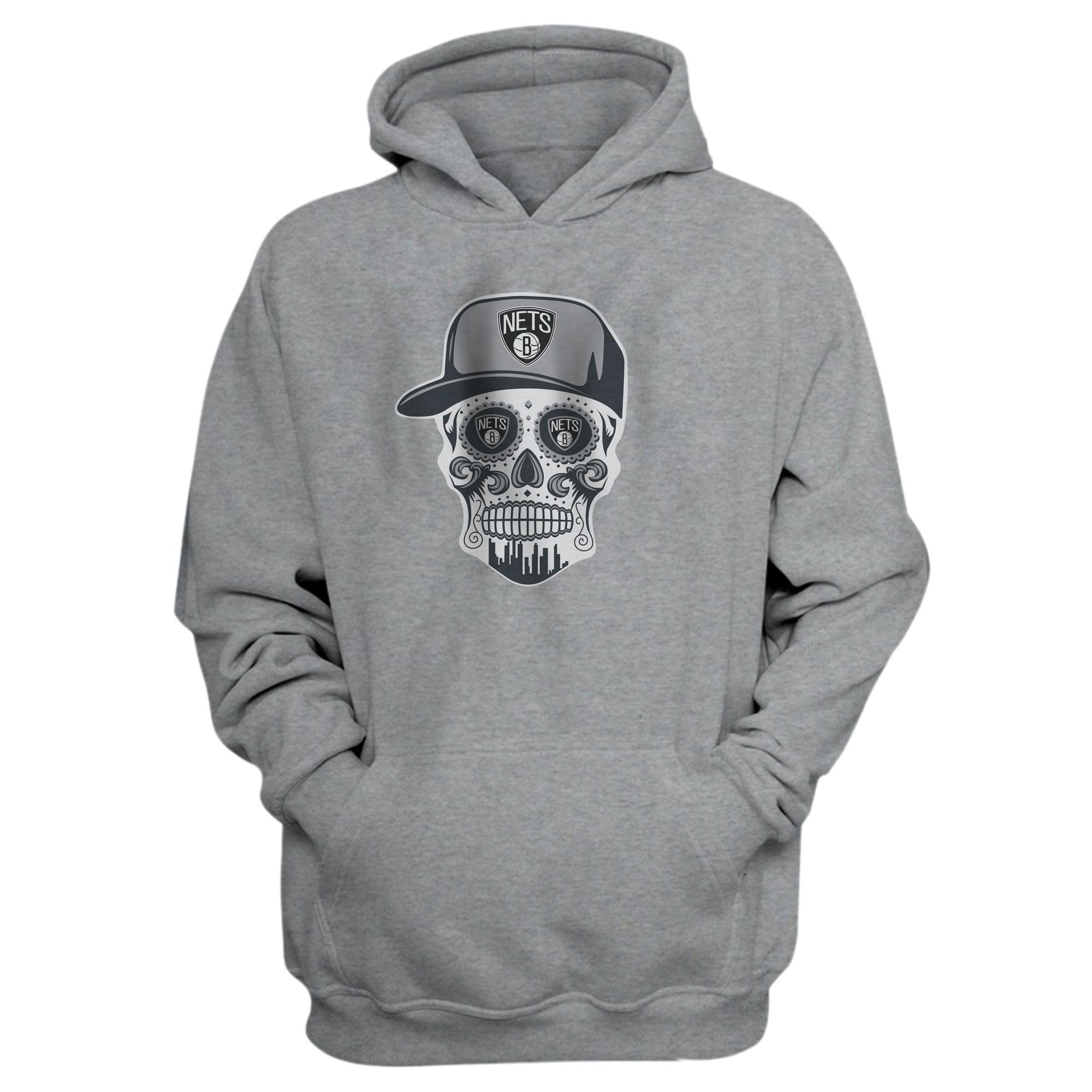 Brooklyn Skull Hoodie  (HD-WHT-NP-445-NBA-BRO. SKULL)