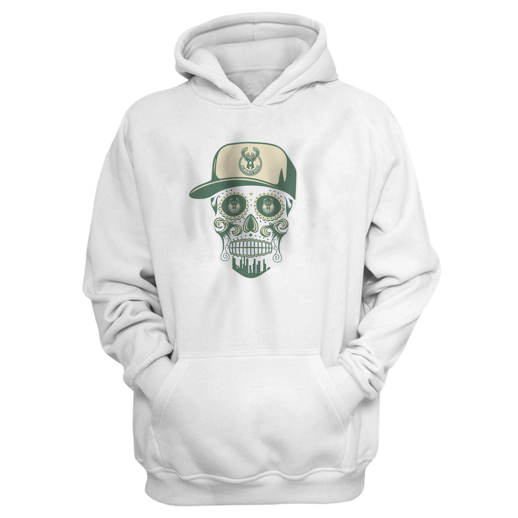 Bucks Skull  Hoodie (HD-WHT-NP-446-BUCKS-SKULL)
