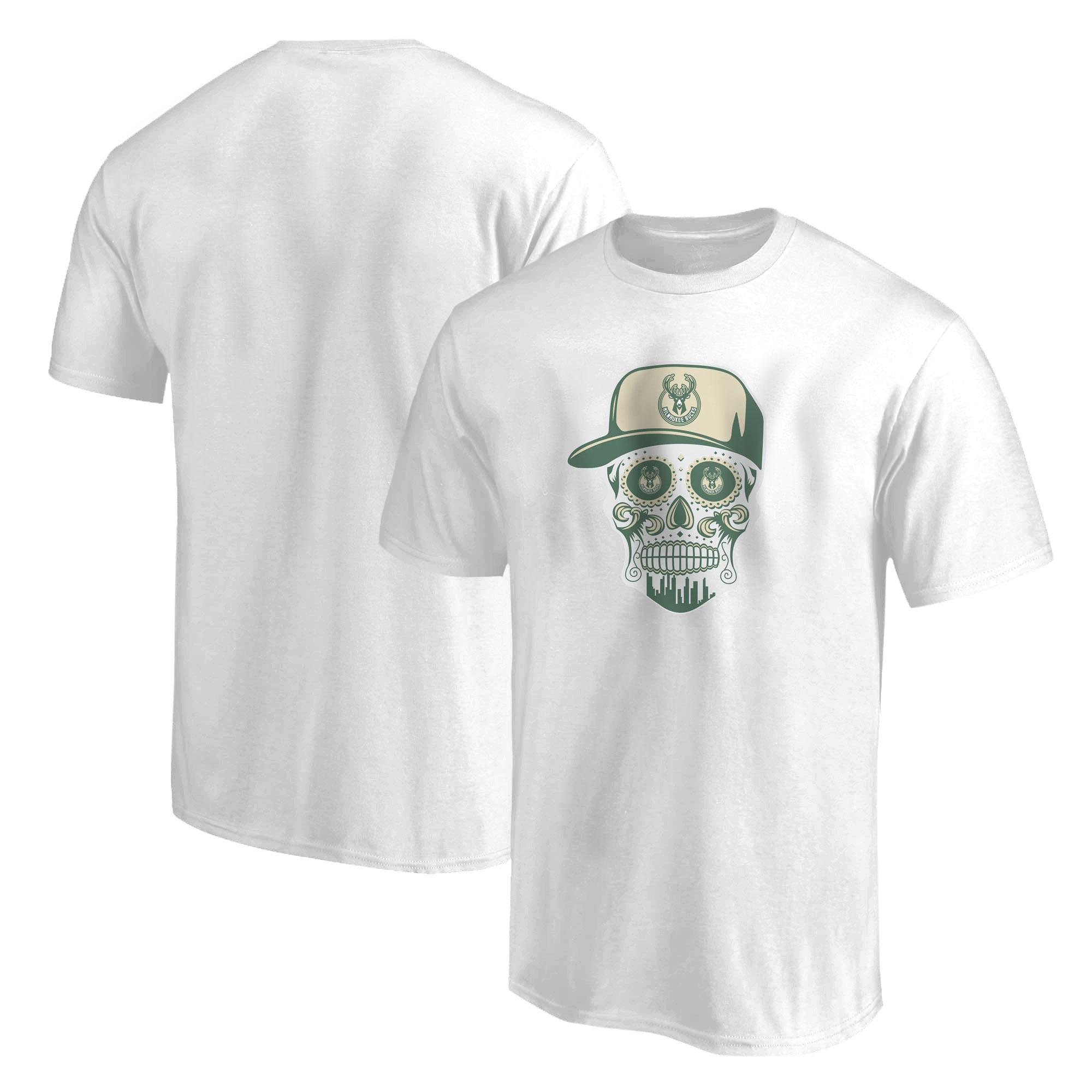 Milwaukee Bucks Tshirt (TSH-GRN-NP-446-NBA-BUCKS-SKULL)