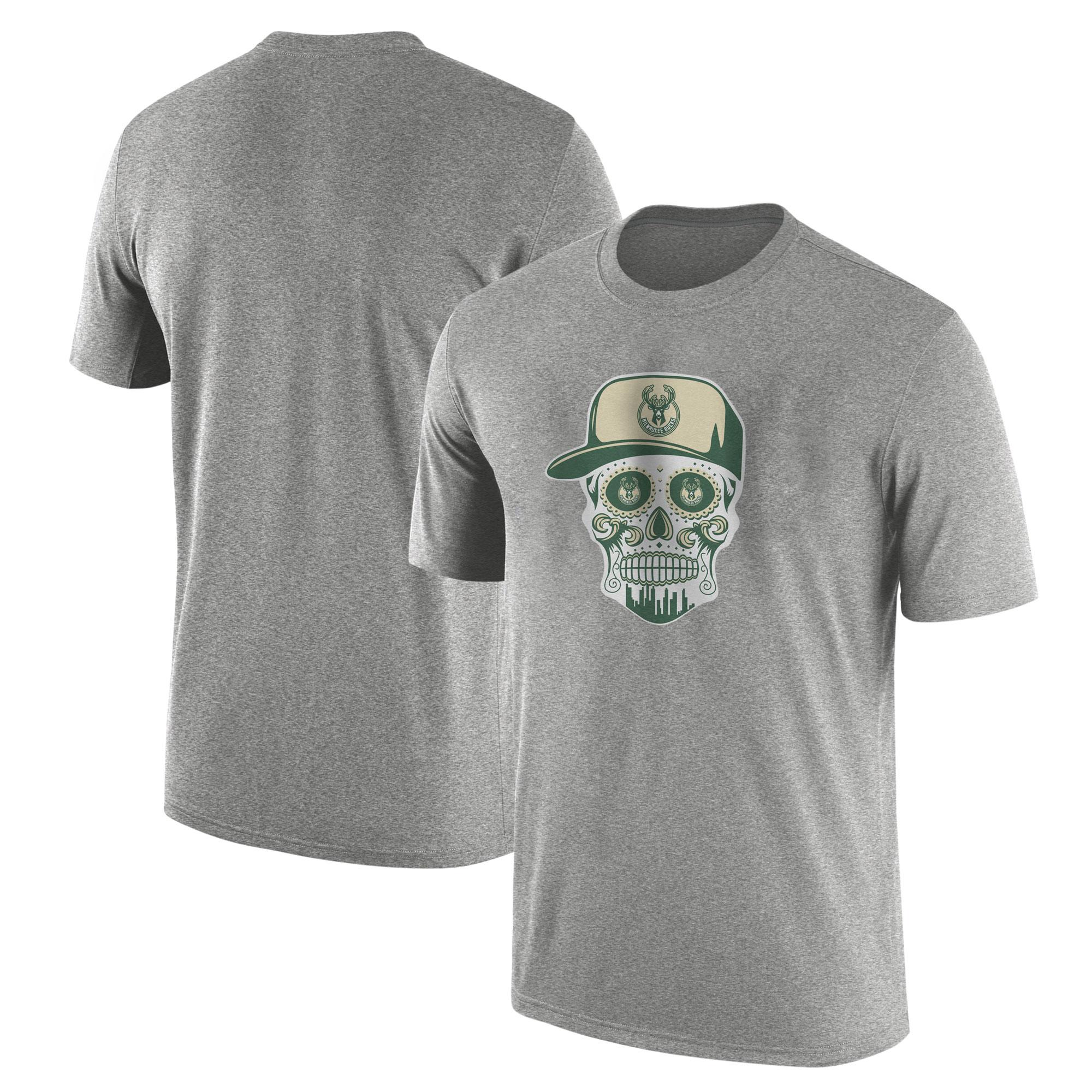 Milwaukee Bucks Tshirt (TSH-GRY-NP-446-NBA-BUCKS-SKULL)