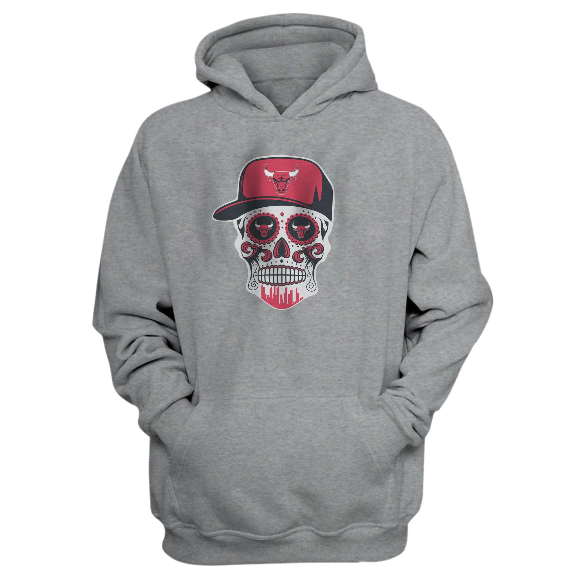Bulls Skull Hoodie (HD-GRY-NP-447-NBA-BULLS-SKULL)