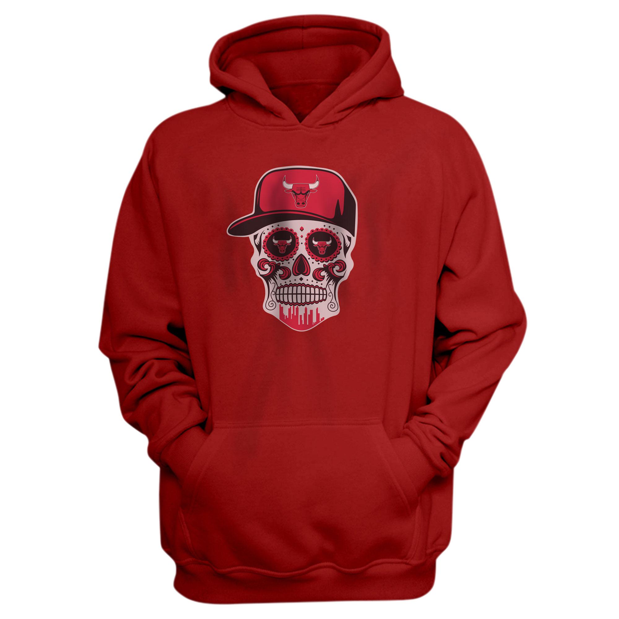 Bulls Skull Hoodie (HD-RED-NP-447-NBA-BULLS-SKULL)