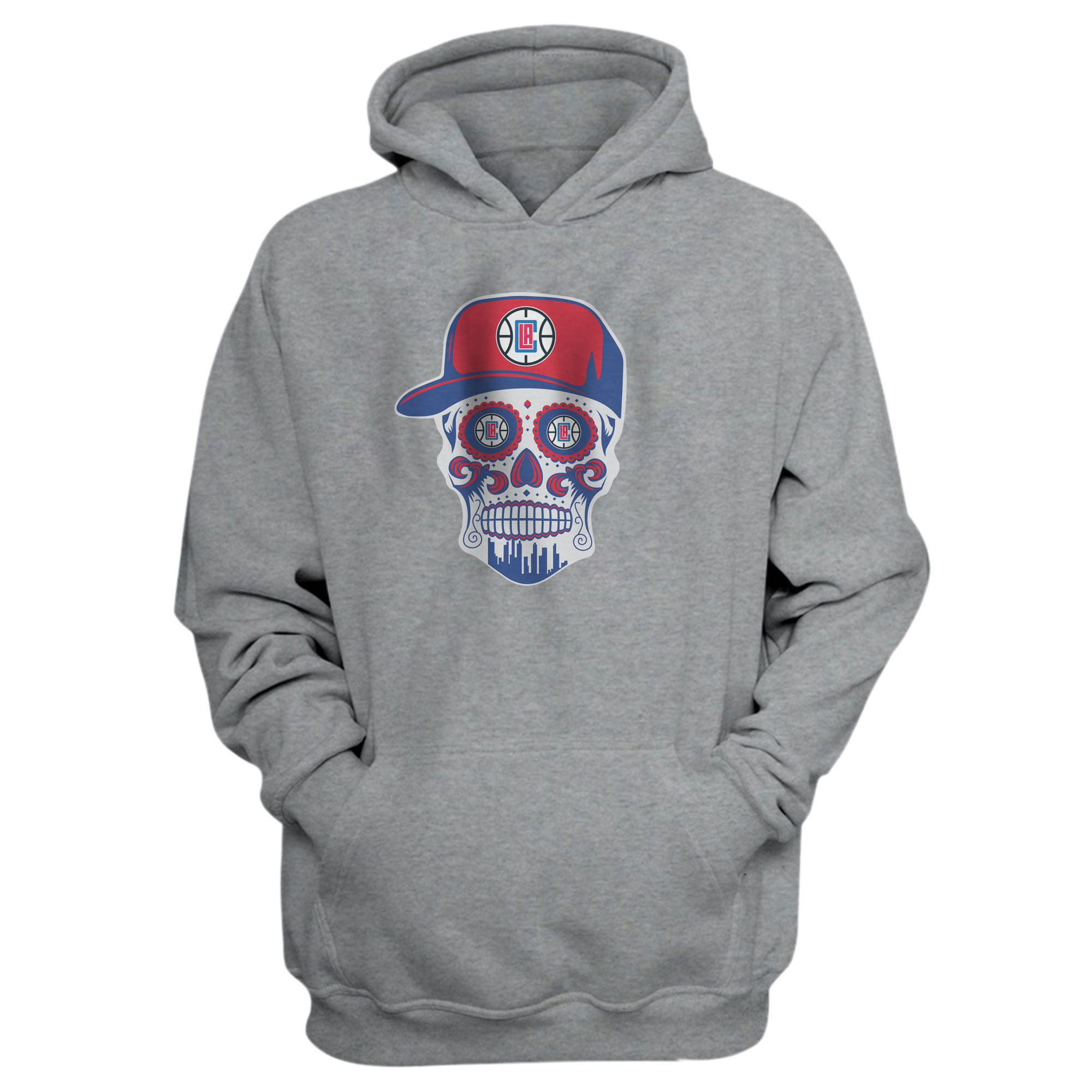 Clippers Skull Hoodie (HD-GRY-NP-450-CLIPPERS-SKULL)