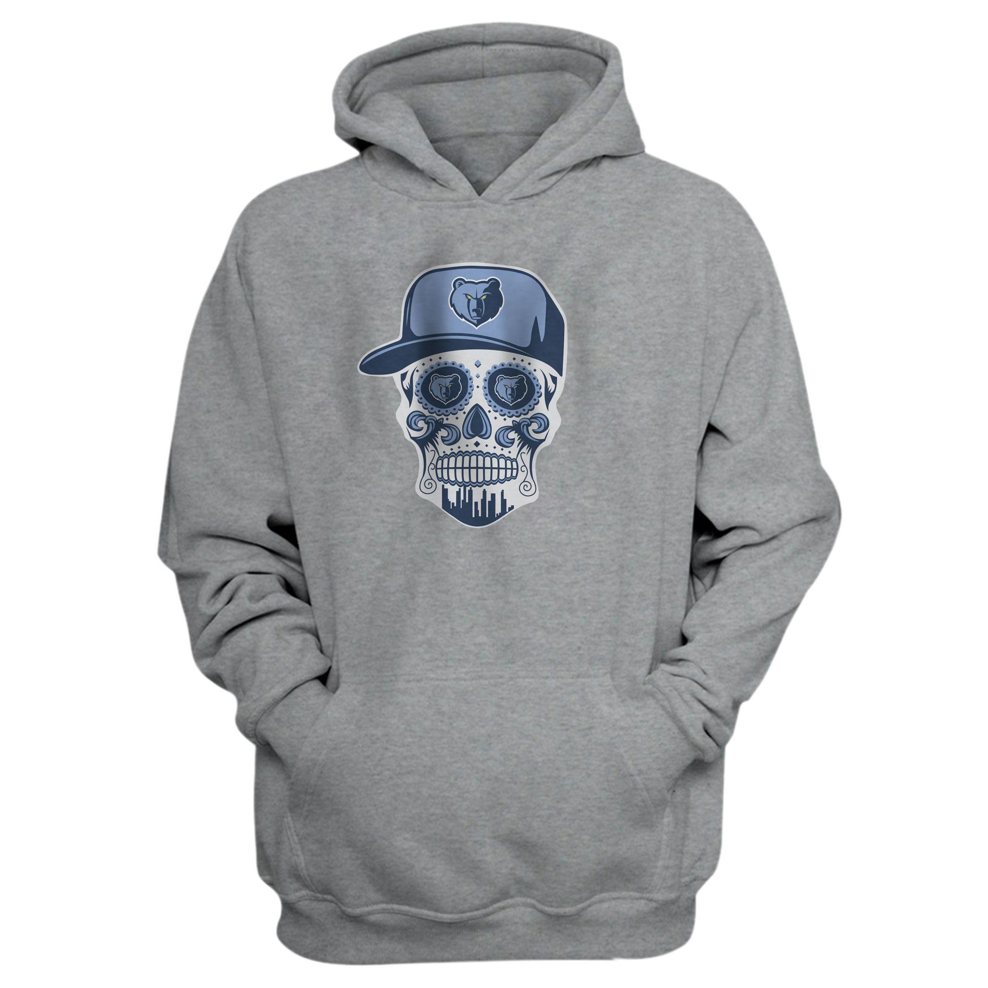 Memphis Skull Hoodie (HD-GRY-NP-455-NBA-MEM-SKULL)