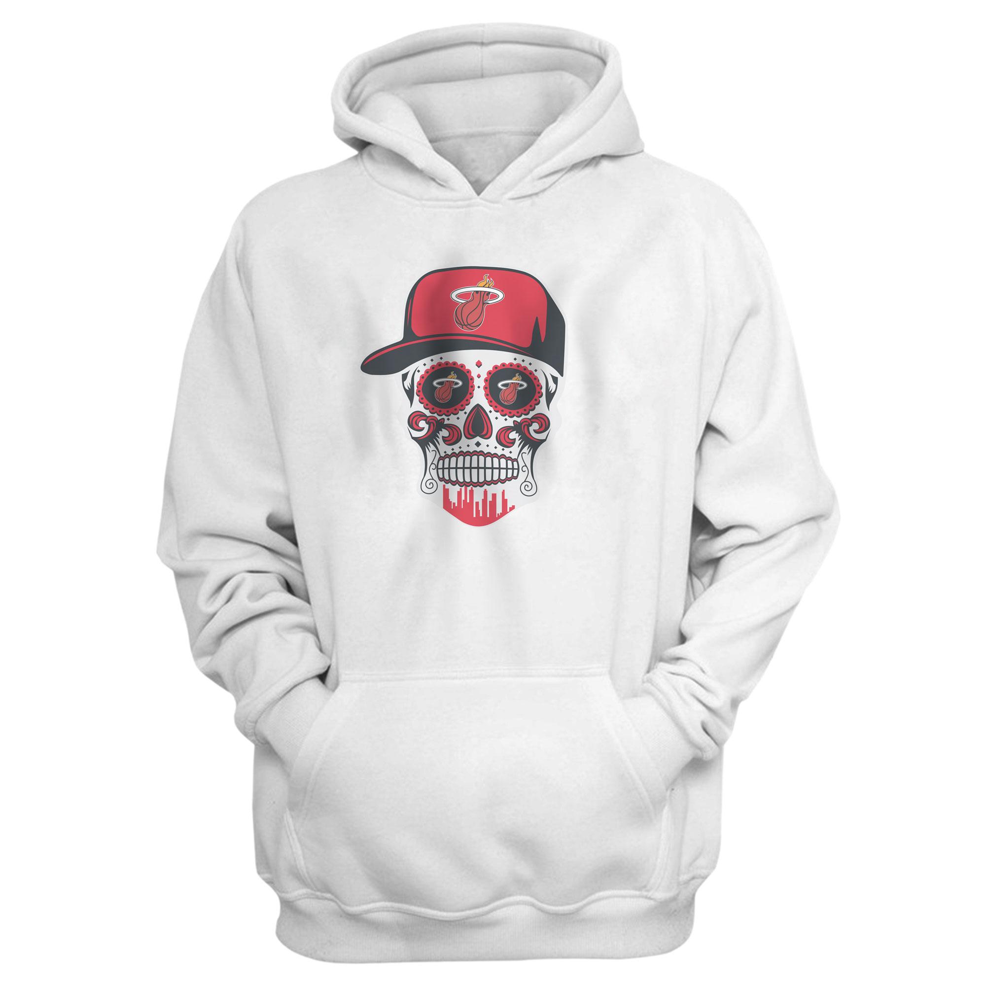 Heat Skull Hoodie  (HD-WHT-NP-456-NBA-MIAMI-SKULL)