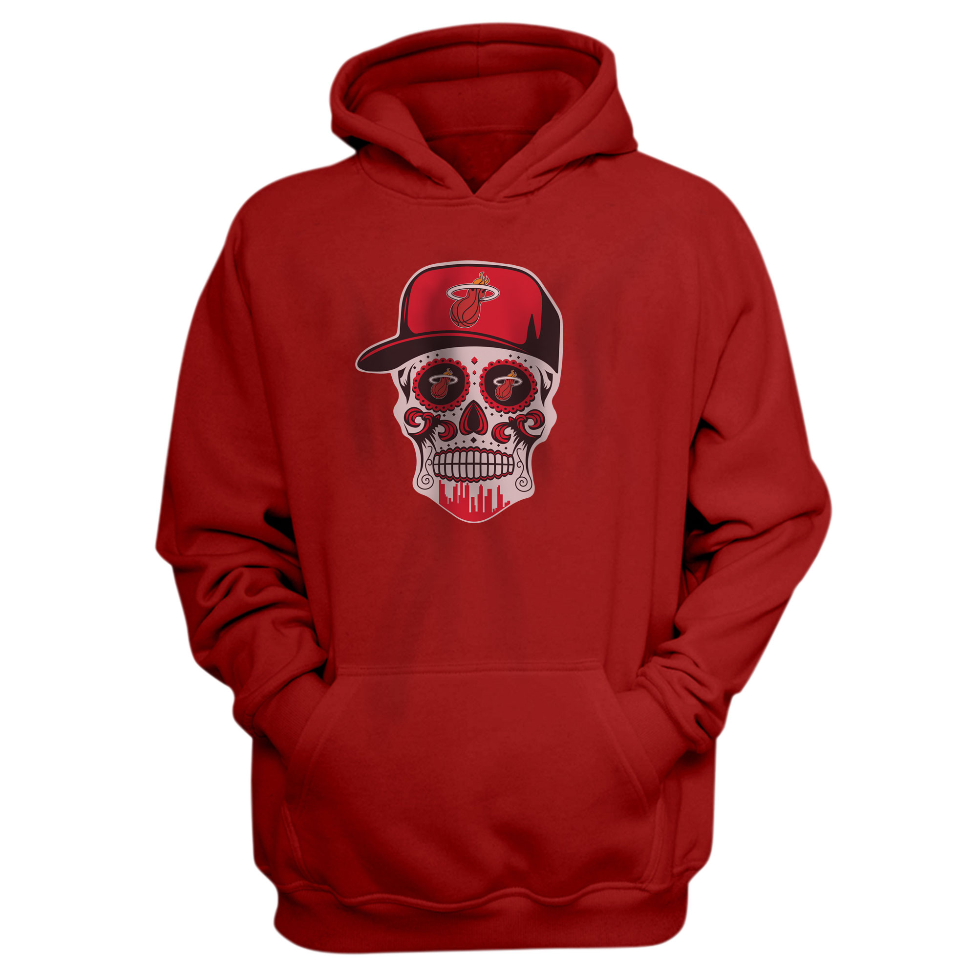 Heat Skull Hoodie  (HD-RED-NP-456-NBA-MIAMI-SKULL)