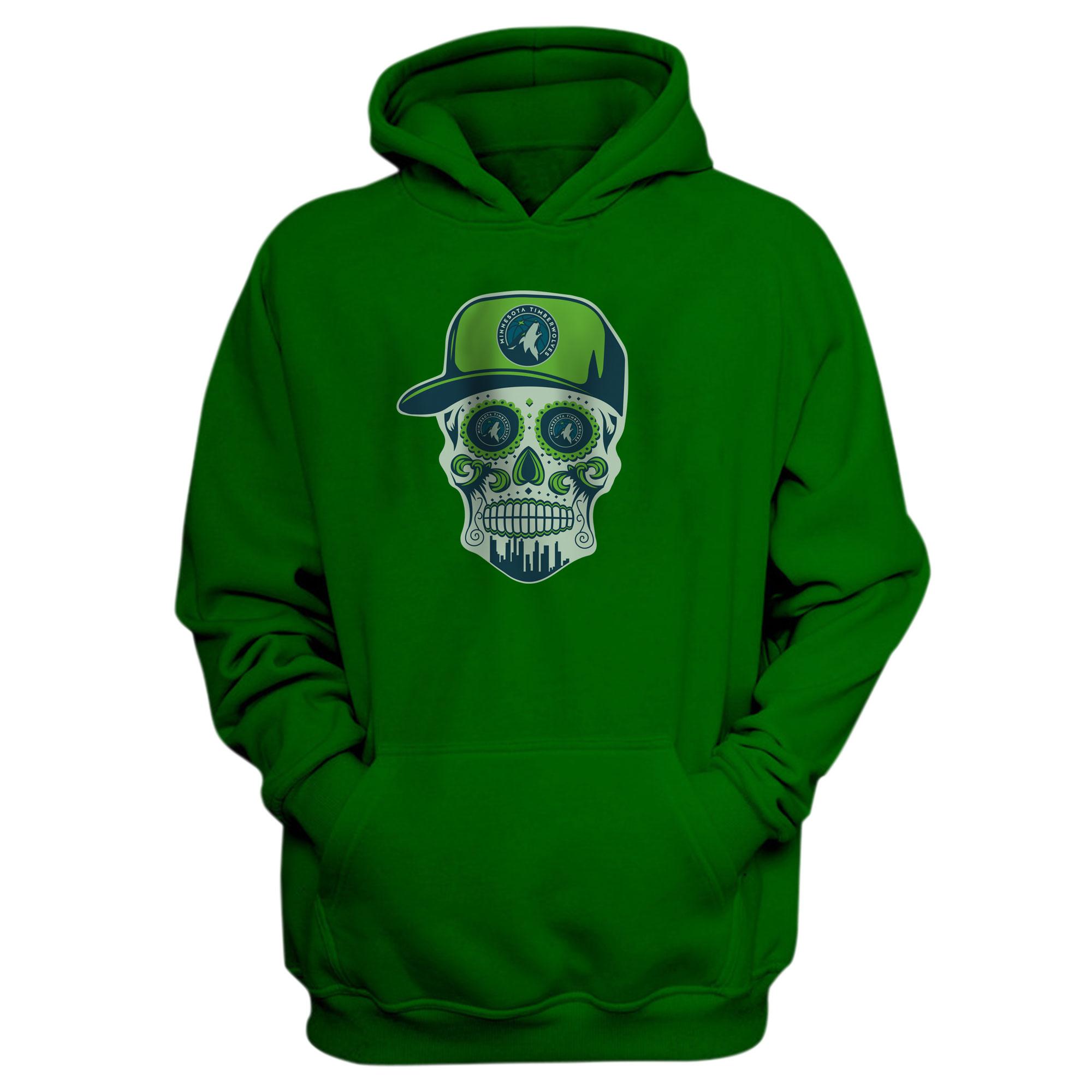 Minnesota Skull Hoodie (HD-GRN-NP-457-NBA-MIN-SKULL)