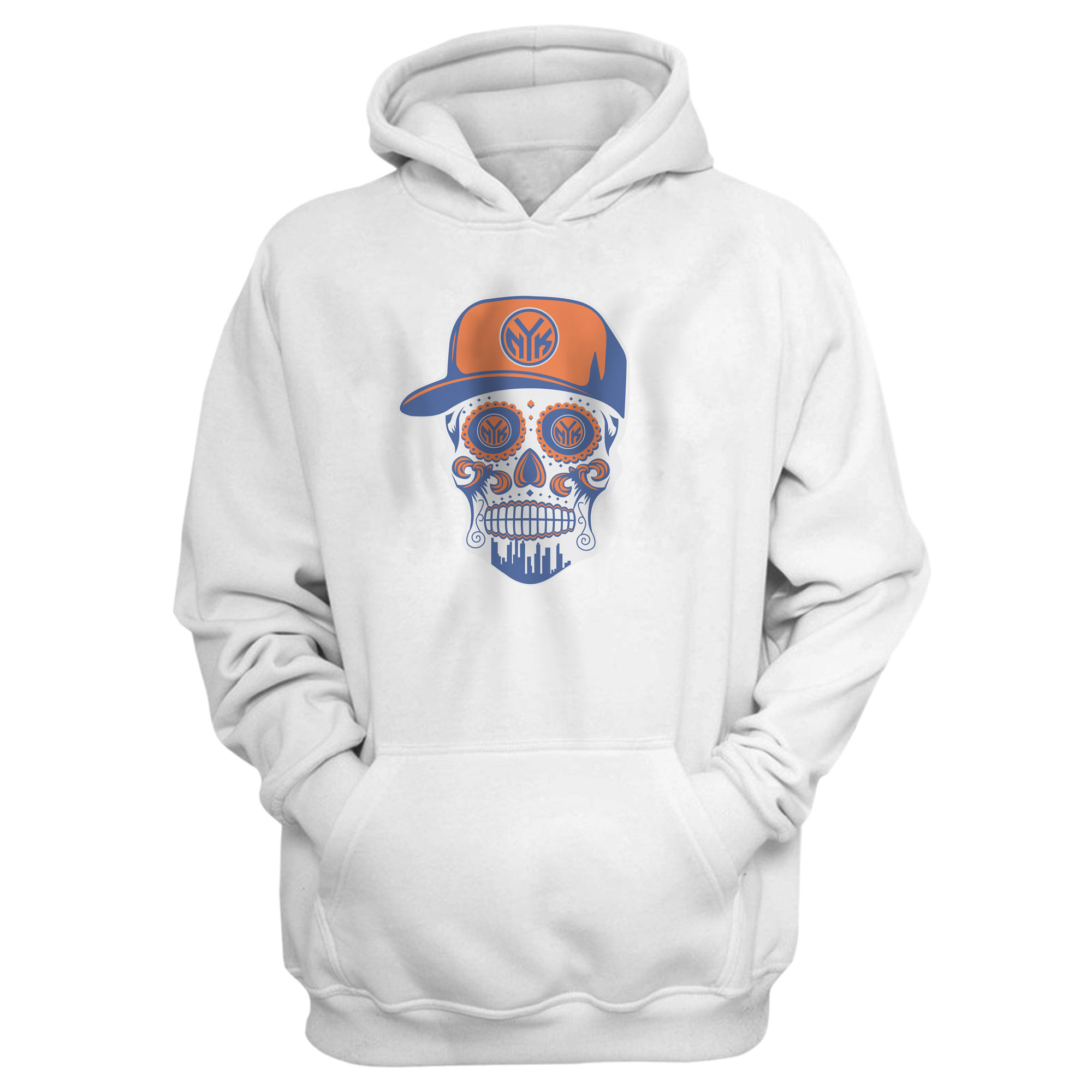 Knicks Skull Hoodie (HD-WHT-NP-NBA-458-NYK-SKULL)