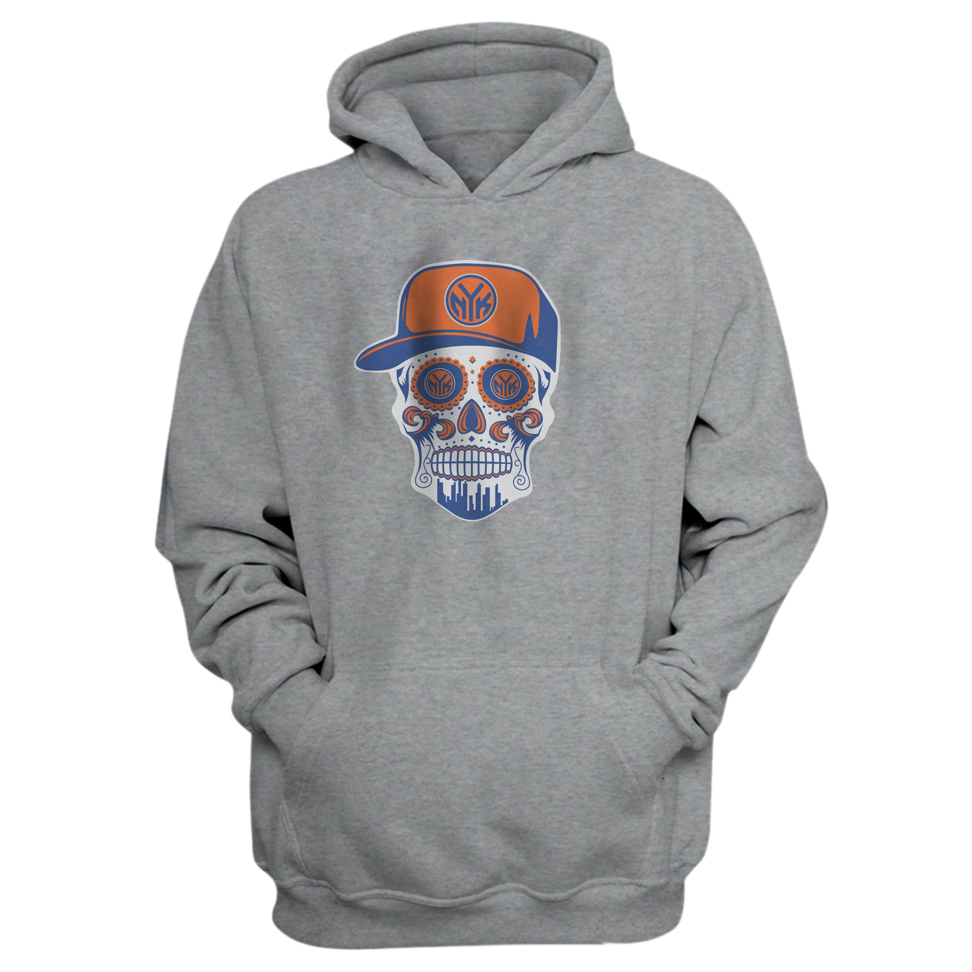 Knicks Skull Hoodie (HD-GRY-NP-NBA-458-NYK-SKULL)