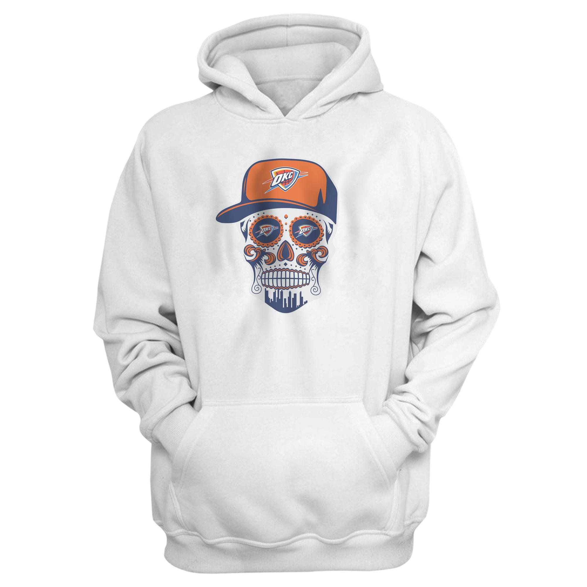 Thunder Skull  Hoodie  (HD-WHT-NP-459-NBA-OKC-SKULL)