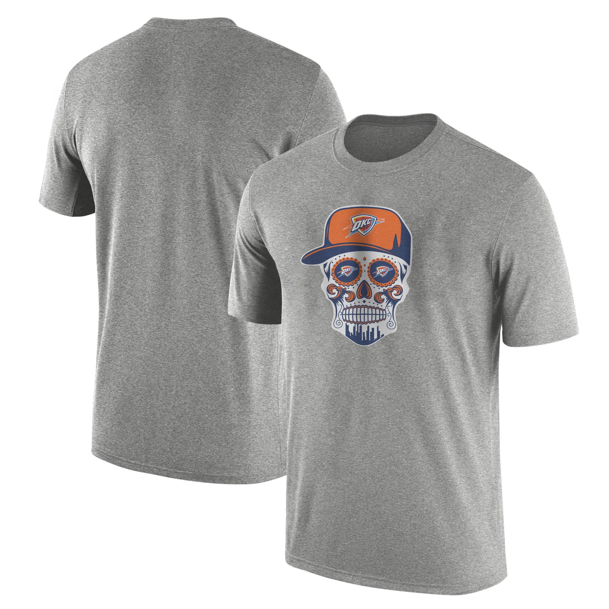 Thunder Skull Tshirt (TSH-GRY-NP-459-NBA-OKC-SKULL)