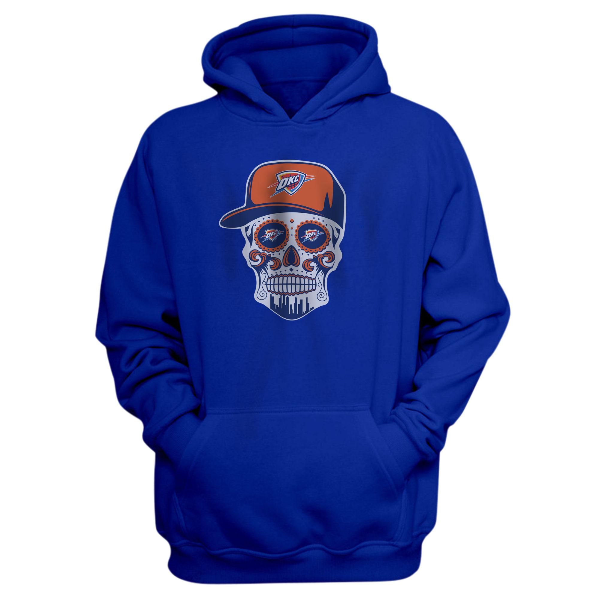 Thunder Skull  Hoodie  (HD-BLU-NP-459-NBA-OKC-SKULL)