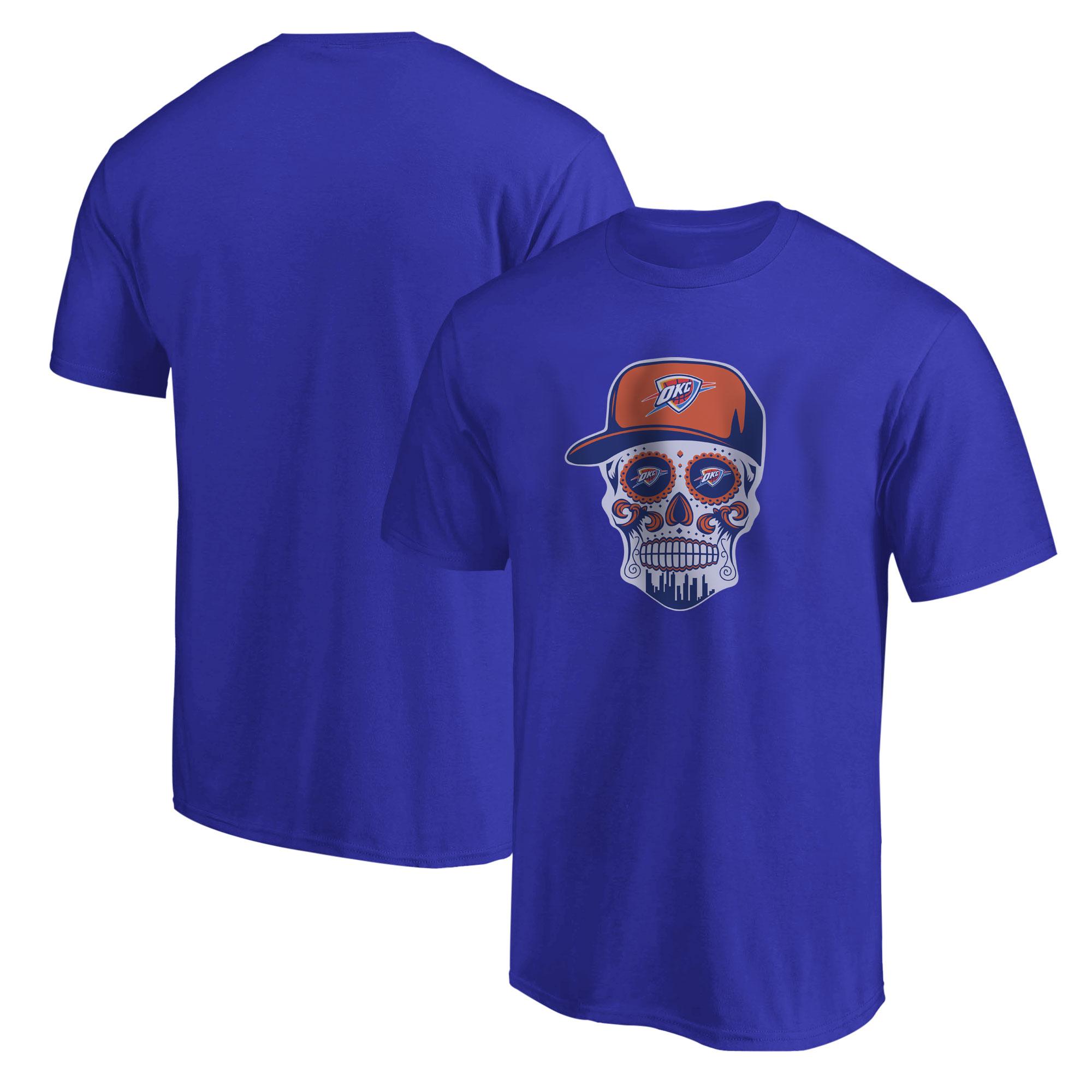 Thunder Skull Tshirt (TSH-BLU-NP-459-NBA-OKC-SKULL)