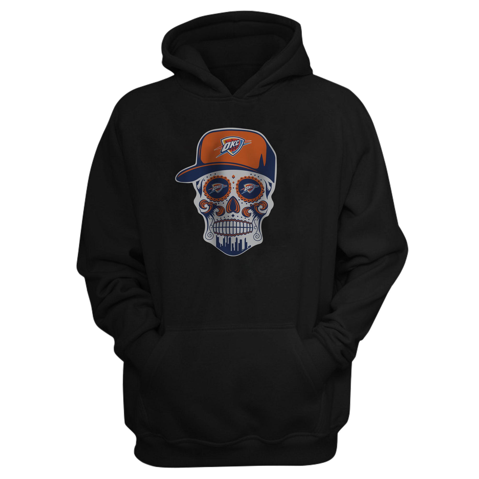 Thunder Skull  Hoodie  (HD-BLC-NP-459-NBA-OKC-SKULL)