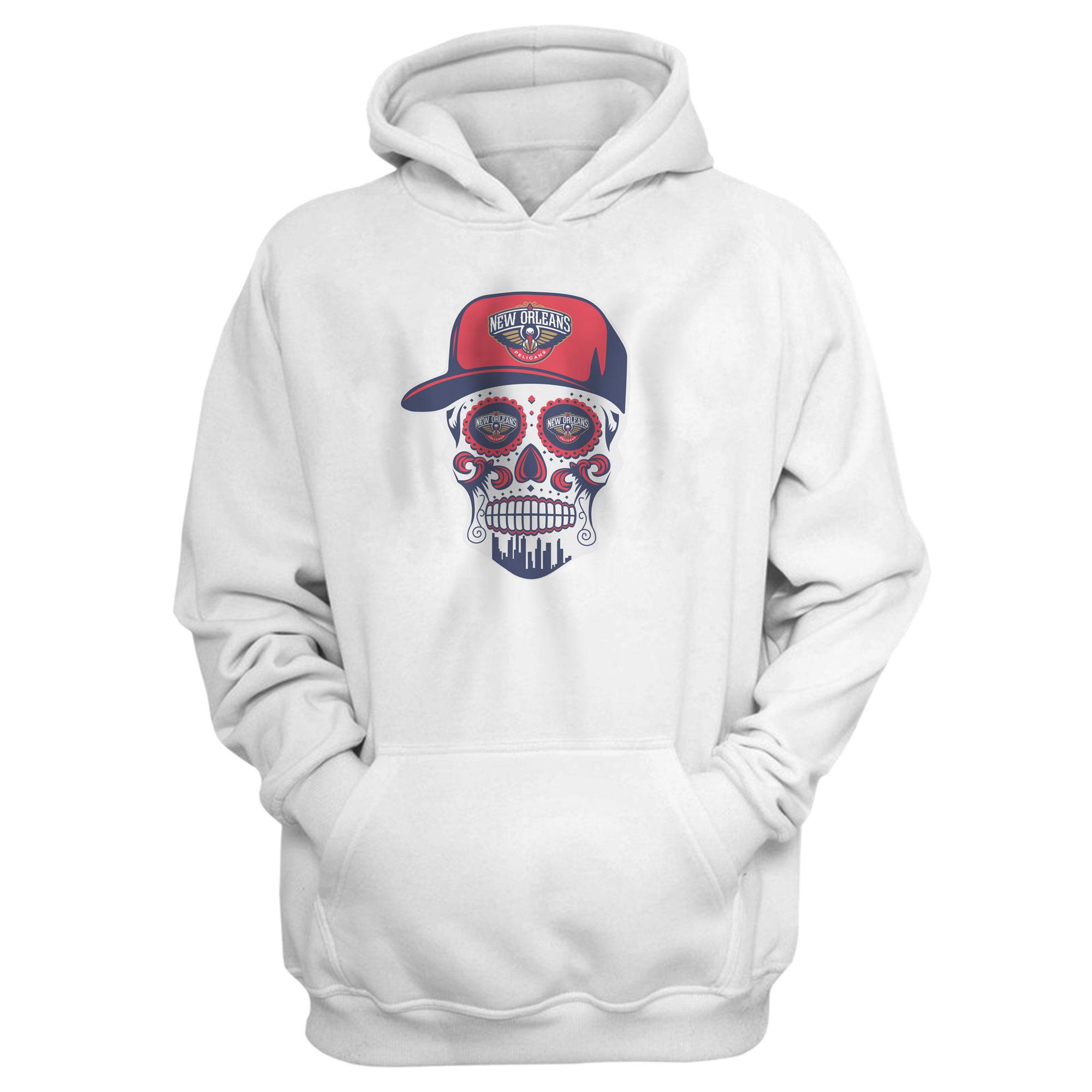 Pelicans Skull Hoodie (HD-WHT-NP-460-NBA-NOLA-SKULL)