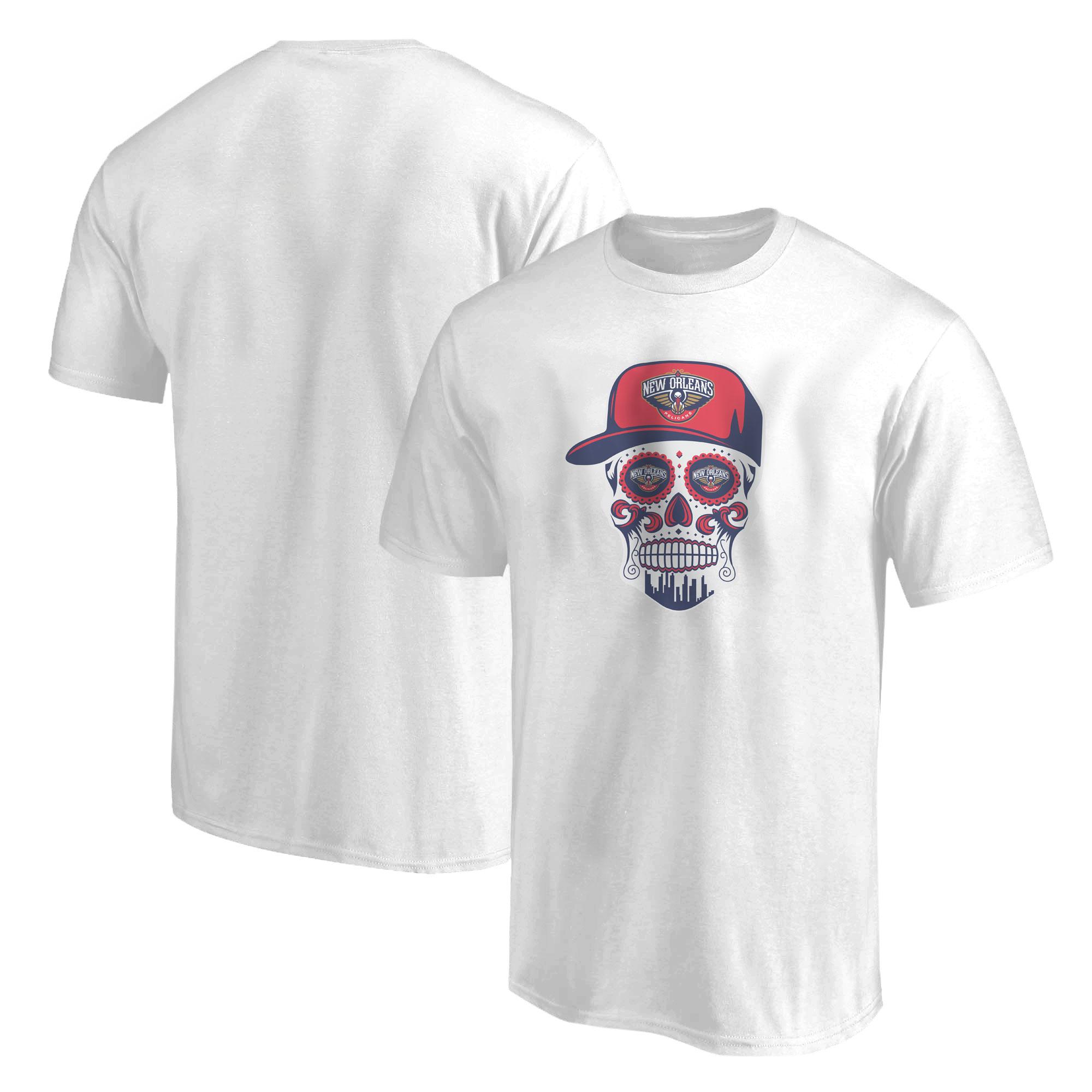 Pelicans Skull  Tshirt (TSH-WHT-NP-460-NBA-NOLA-SKULL)
