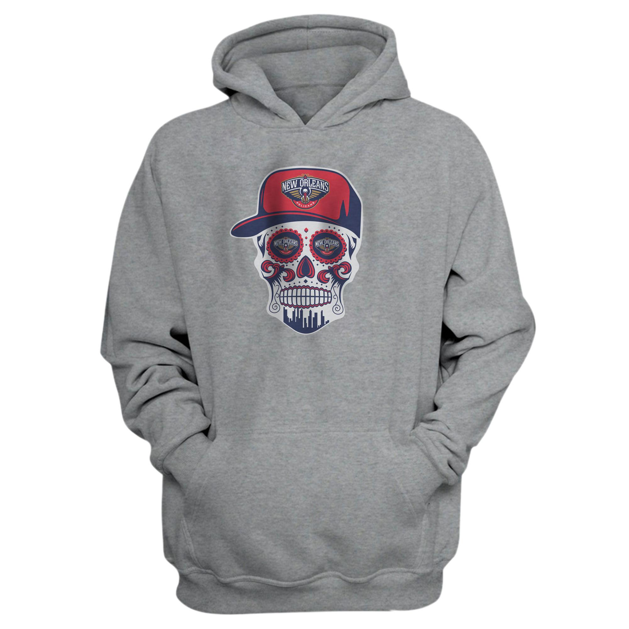 Pelicans Skull Hoodie (HD-GRY-NP-460-NBA-NOLA-SKULL)