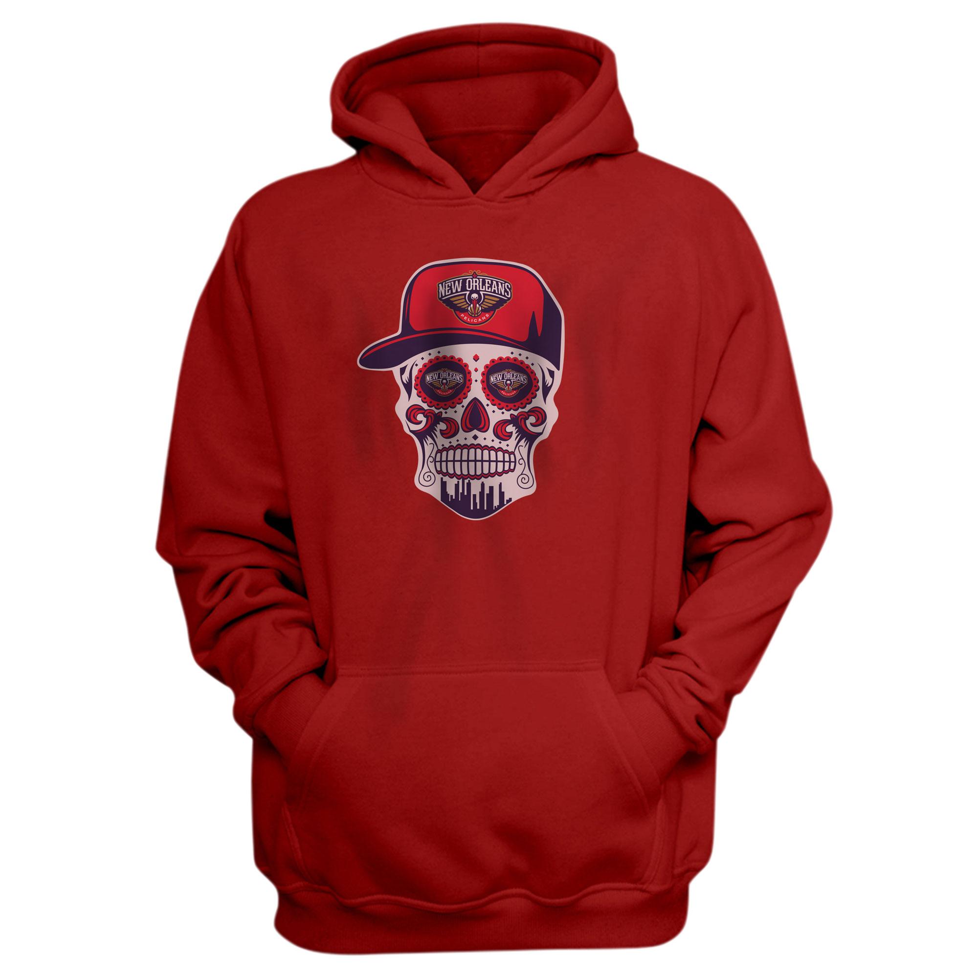 Pelicans Skull Hoodie (HD-RED-NP-460-NBA-NOLA-SKULL)