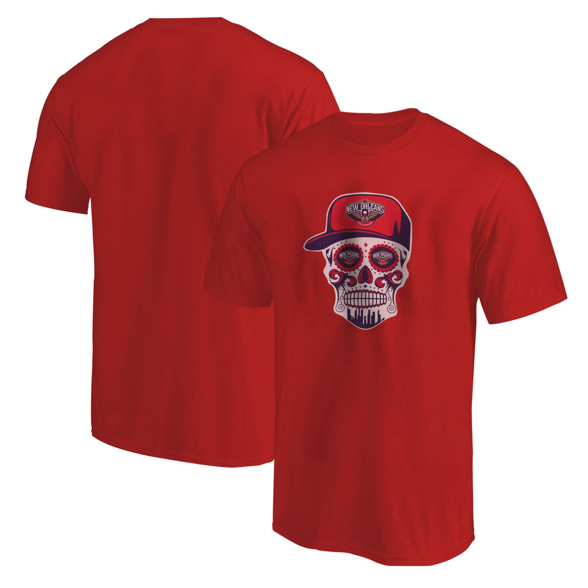 Pelicans Skull  Tshirt (TSH-RED-NP-460-NBA-NOLA-SKULL)