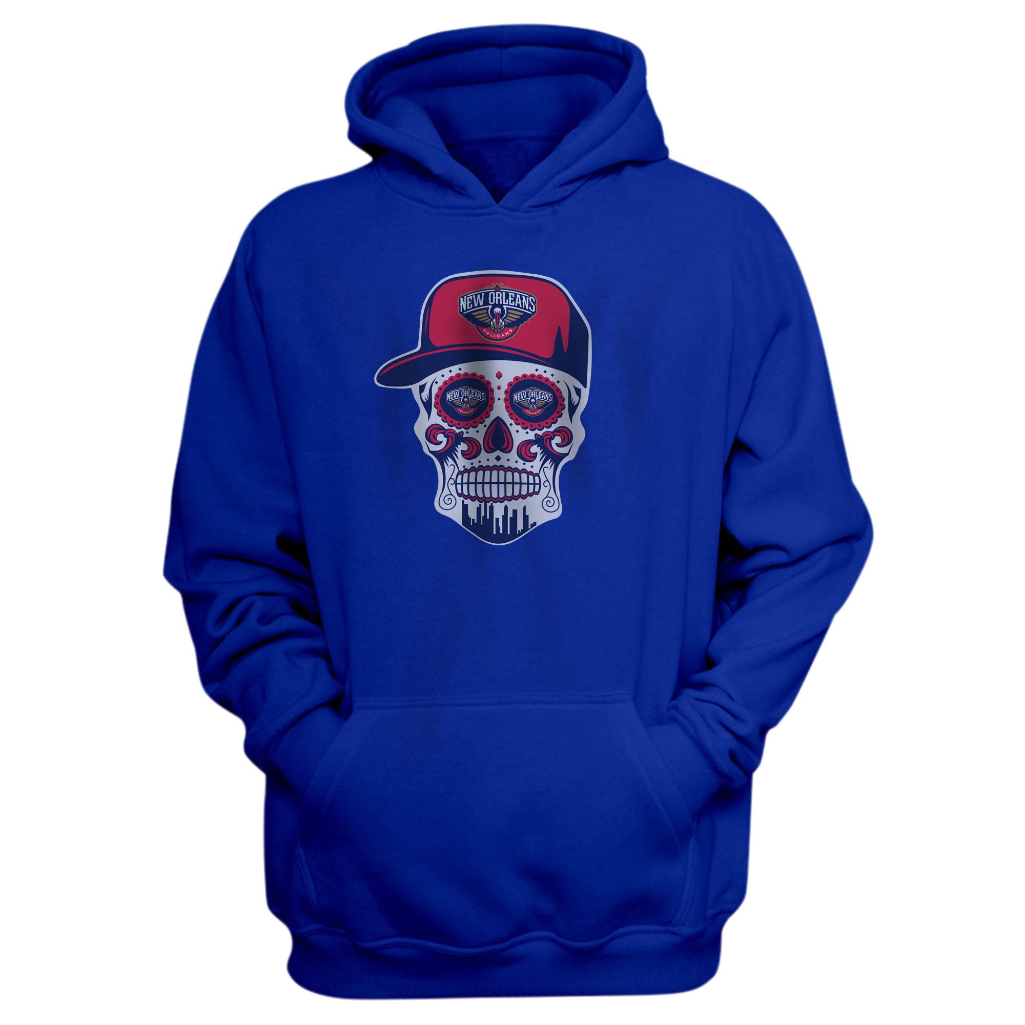 Pelicans Skull Hoodie (HD-BLU-NP-460-NBA-NOLA-SKULL)
