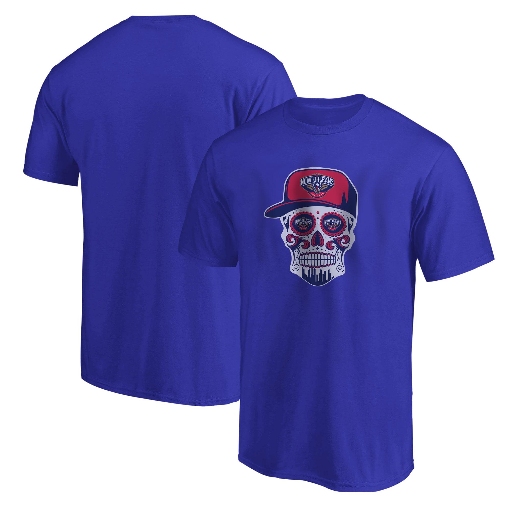 Pelicans Skull  Tshirt (TSH-BLU-NP-460-NBA-NOLA-SKULL)