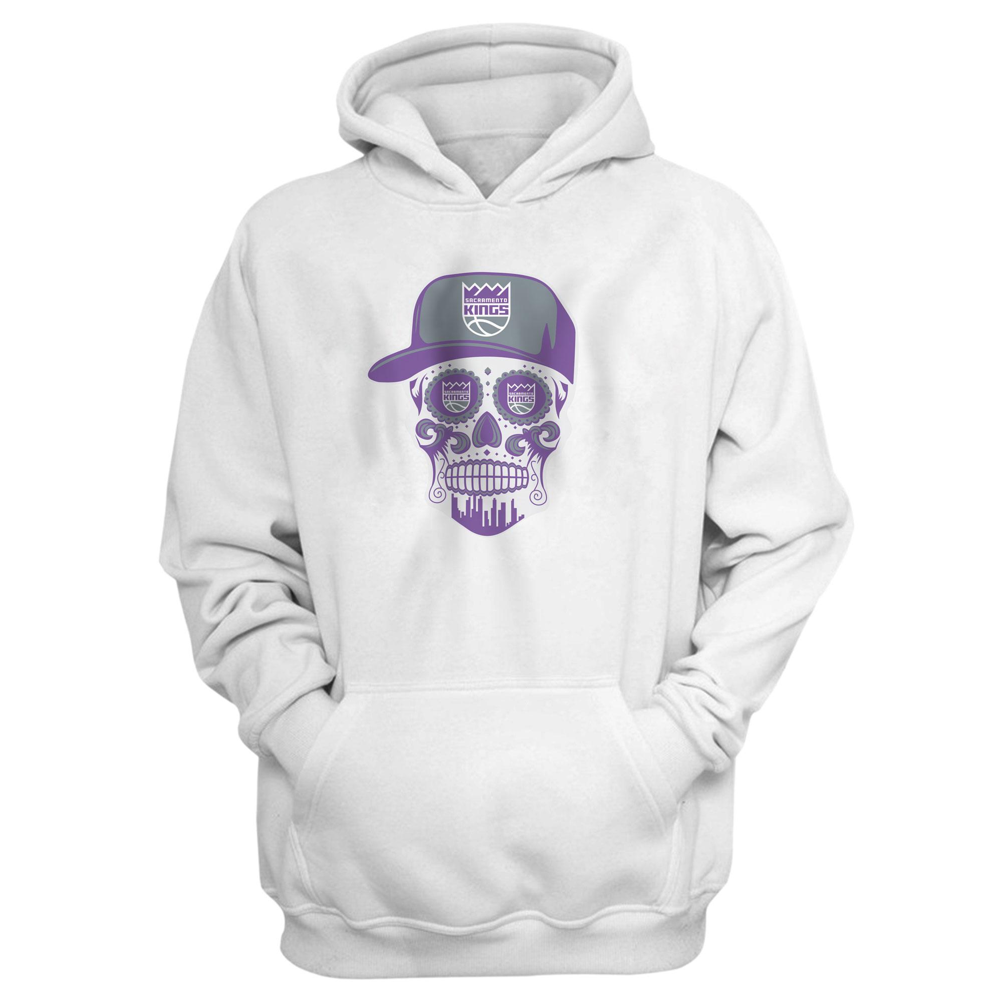Sacramento Kings Sacramento Skull Hoodie (HD-WHT-463-SACRAMENTO-SKULL)