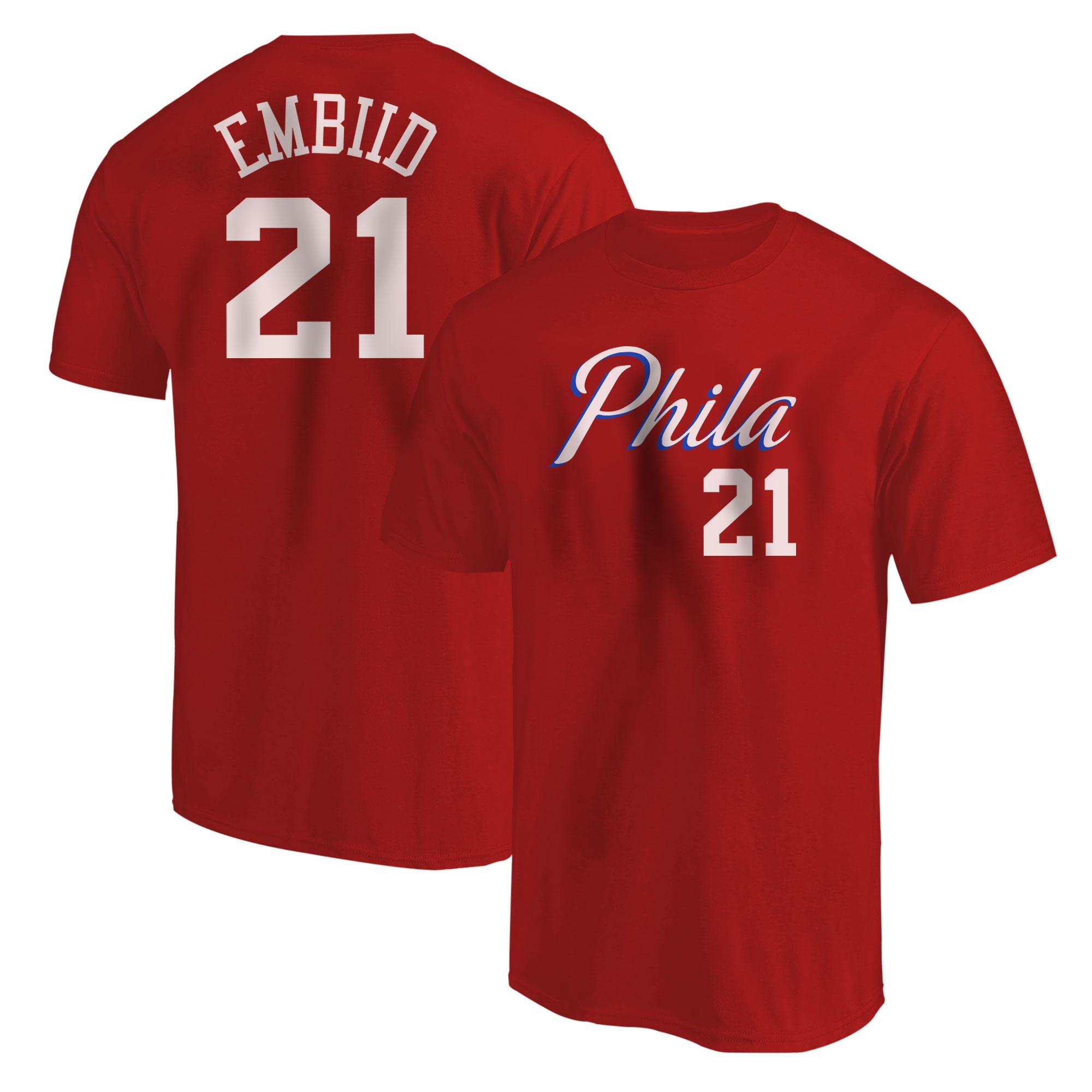 Philadelphia 76ers Joel Embiid Tshirt (TSH-RED-PLT-504-21)