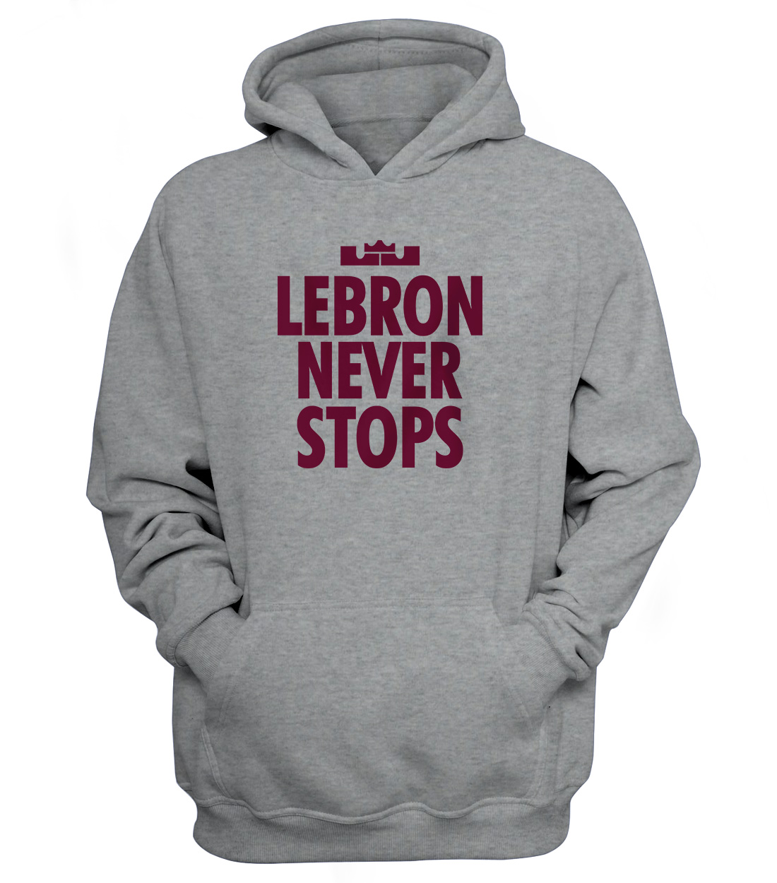 Lebron Never Stops Hoodie (HD-GRY-NP-130-PLYR-LAL-LEBRON.NVR.STP.)