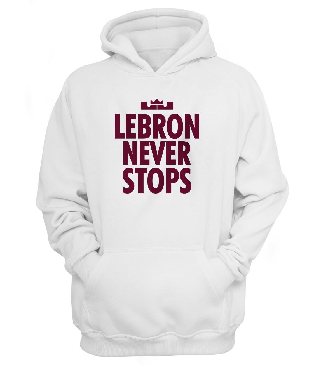 Lebron Never Stops Hoodie (HD-WHT-NP-130-PLYR-LAL-LEBRON.NVR.STP.)