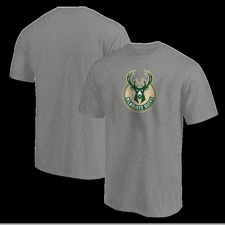 Milwaukee Bucks Tshirt (TSH-GRY-NP-151-NBA-MIL-LOGO)