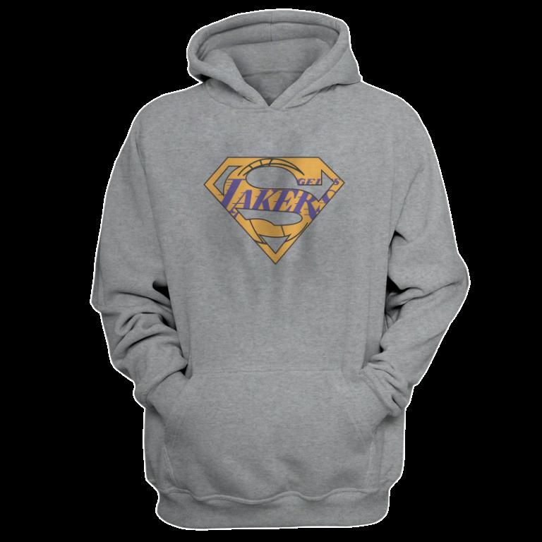 Lakers Superman  Hoodie (HD-GRY-NP-122-NBA-LAL-SUPERMAN)