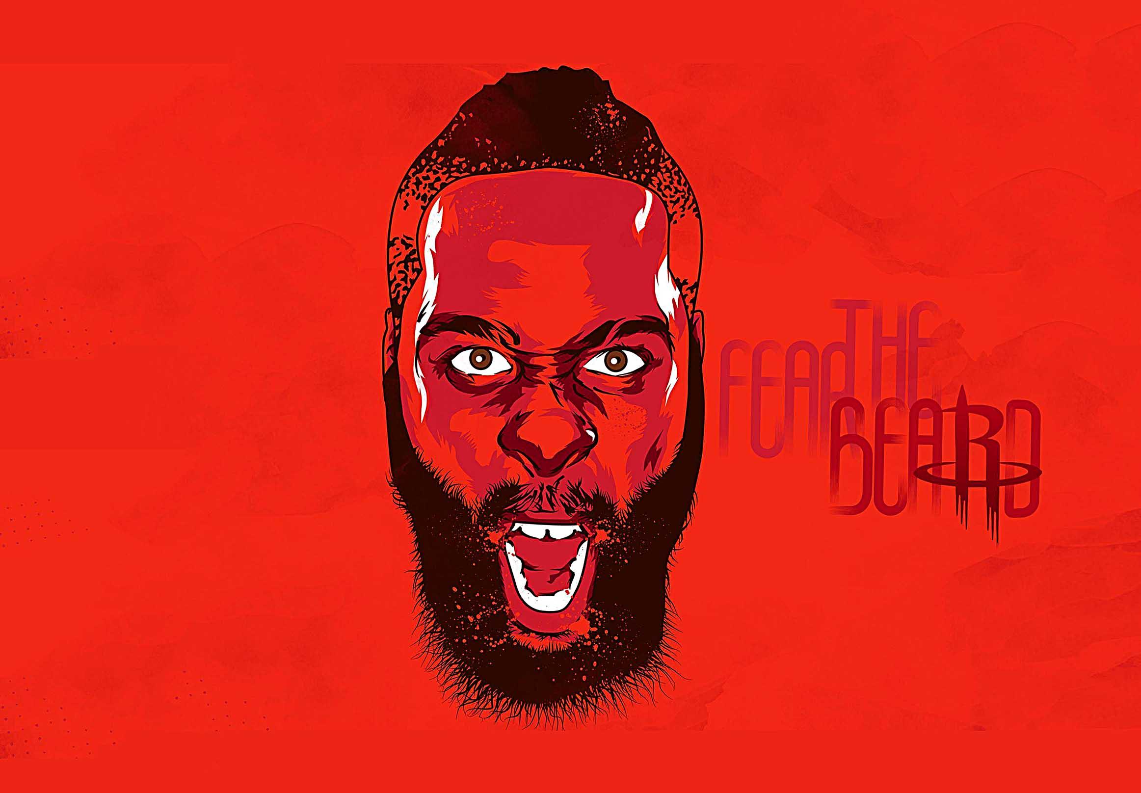 Houston Rockets Fear The Beard Canvas Tablo (Nba-canvas-hardenbeard)