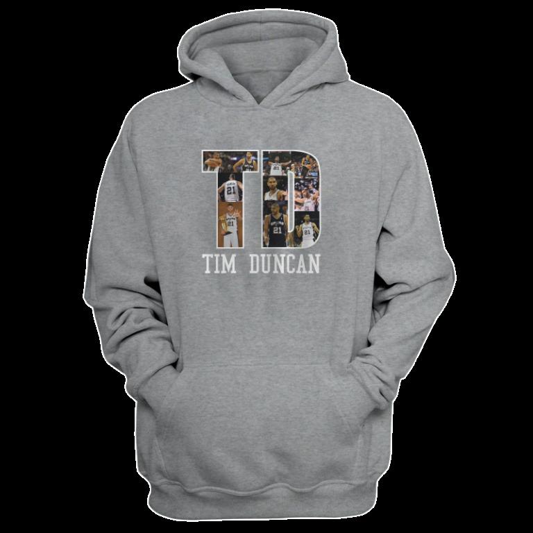 Tim Duncan Hoodie (HD-GRY-NP-196-PLYR-SAS-T.D)