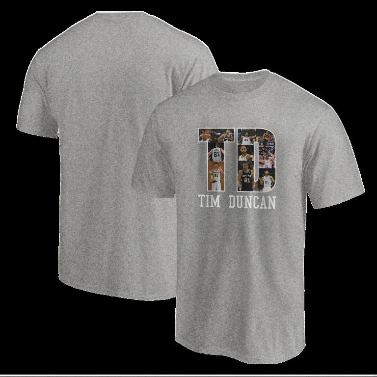 Tim Duncan Tshirt (TSH-GRY-NP-196-PLYR-SAS-T.D)